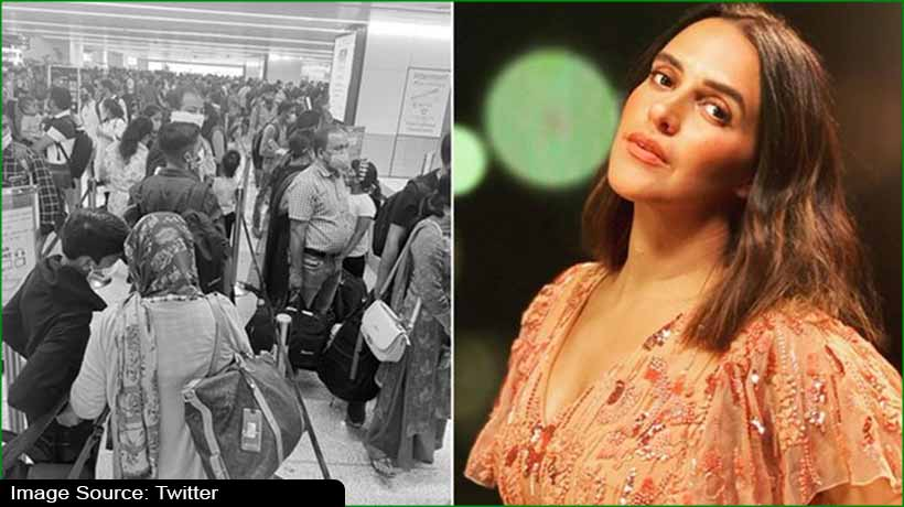 red-alert:-neha-dhupia-shares-photo-of-jampacked-delhi-airport