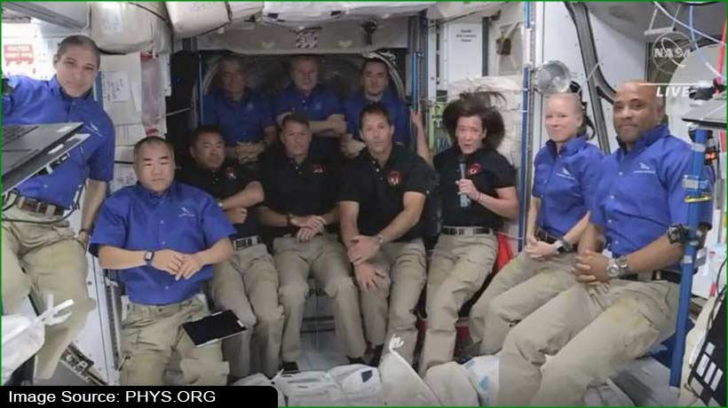 बीते दस साल में पहली बार ISS पर पहुंचें सबसे ज्यादा लोग