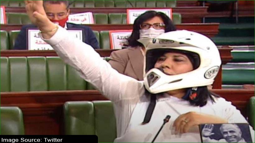Tunisian lawmaker dons helmet, bulletproof vest in parliament