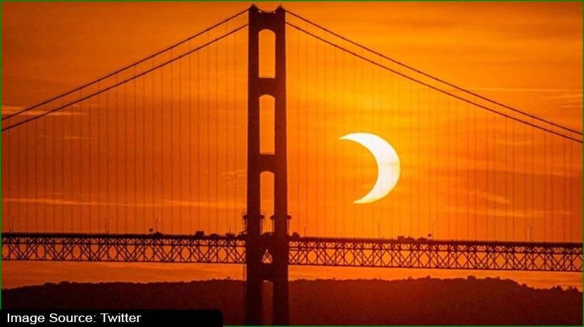 सूर्य ग्रहण के दौरान आग के छल्ले जैसा दिखा सूर्य