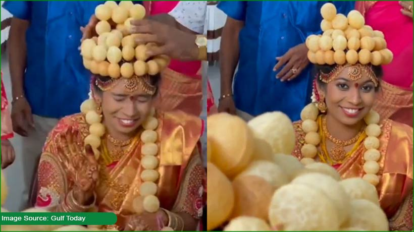 indian-bride-wears-'gol-gappa'-crown-on-her-special-day