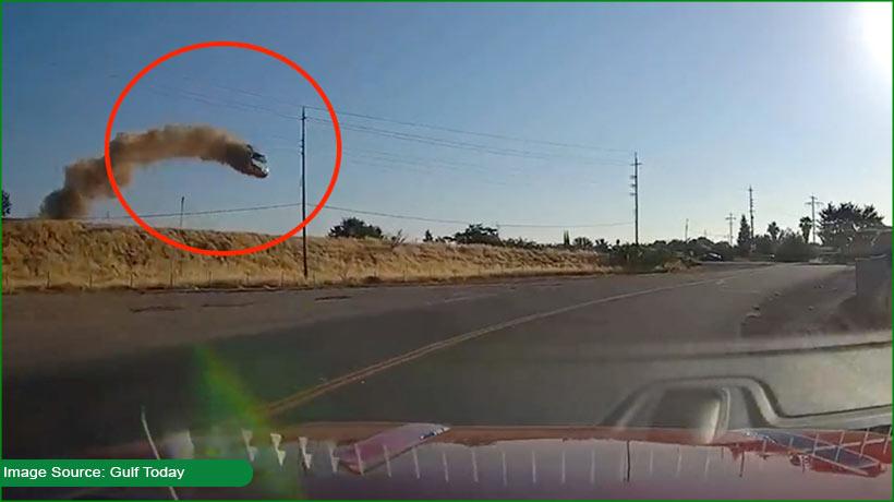 FREAK: Speeding car flies in California, crashes into highway