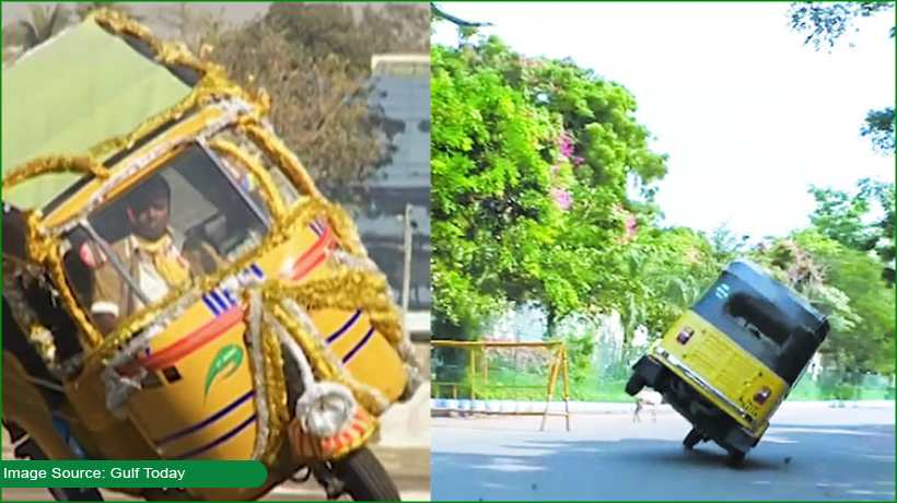india-driver-creates-guinness-record-by-driving-3-wheeler-on-two-wheels